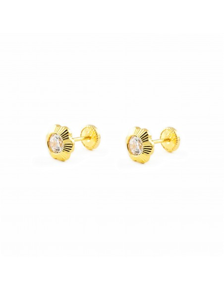 18ct Yellow Gold flower Children's Earrings