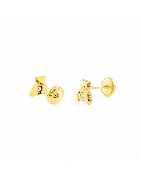 18ct Yellow Gold teddy Children's Earrings
