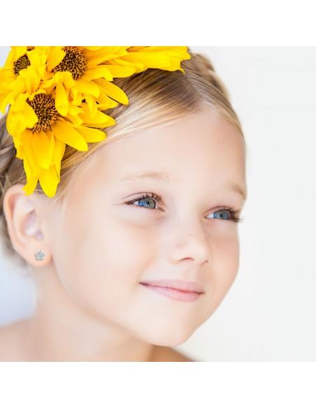 18ct White Gold flower Children's Earrings