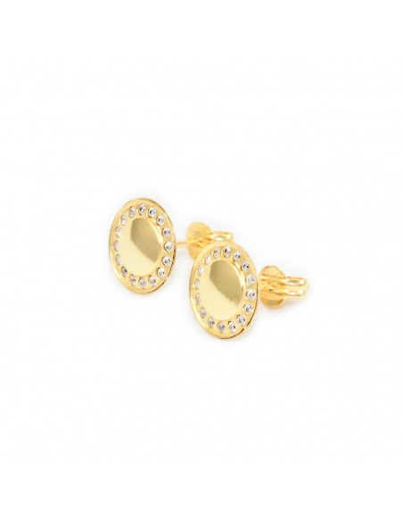 9ct Yellow Gold round and zircon Earrings