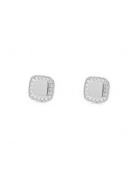9ct White Gold square and zircon Earrings