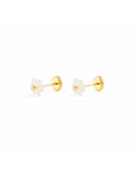 9ct Yellow Gold nacre flower Children's Earrings
