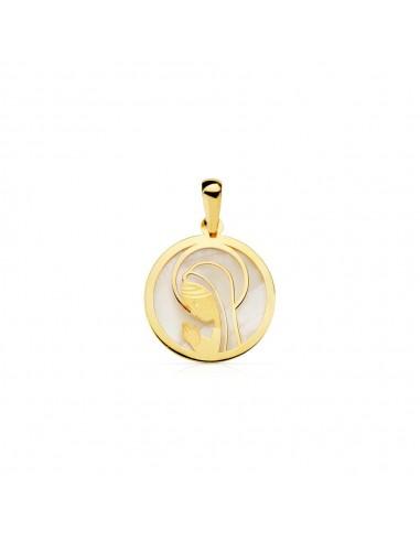 18ct Yellow Gold round virgin girl Nacre Pendant