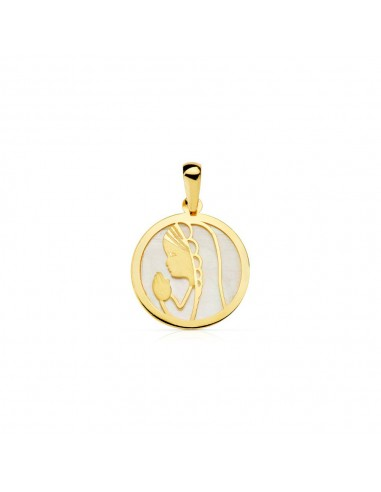 18ct Yellow Gold round virgin girl Nacre Pendant