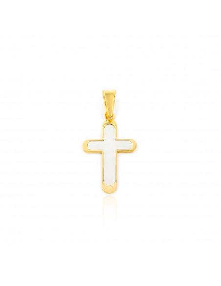 Croix en or jaune 18 carats en nacre