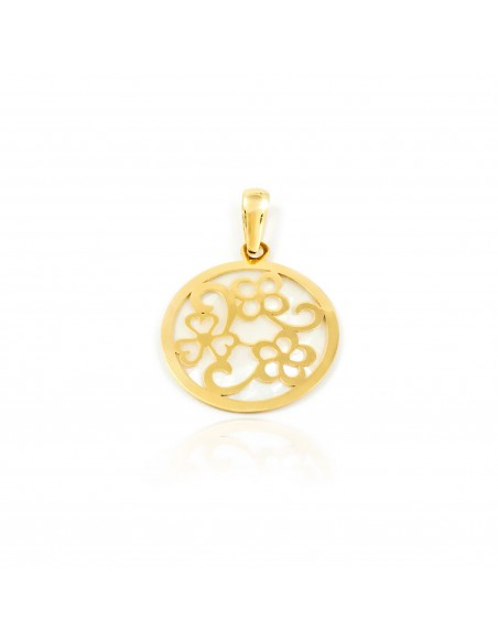 18ct Yellow Gold round flower Nacre Pendant