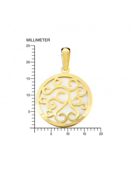 18ct Yellow Gold round Nacre Pendant