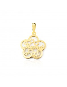 18ct Yellow Gold flower nacre mama Pendant