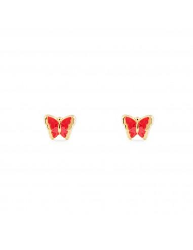 oro giallo 18k Orecchini per bambini farfalla rosa 750