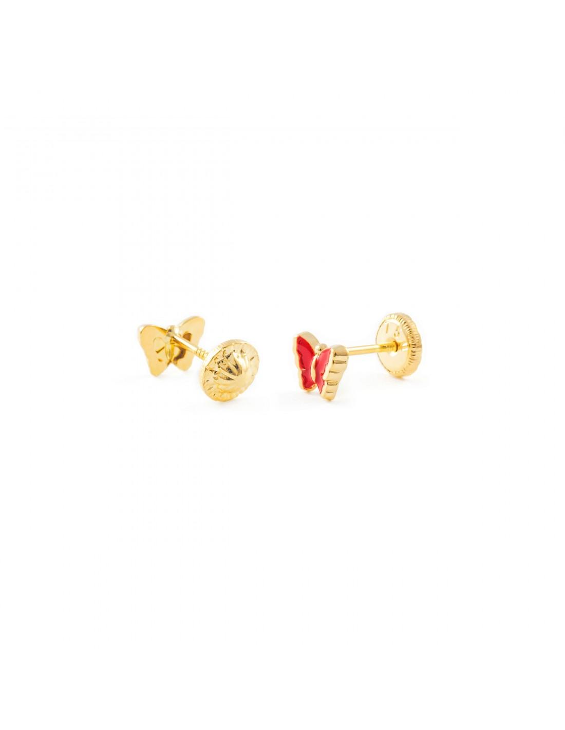 oro giallo 18k 750 Orecchini per bambini rossa farfalla