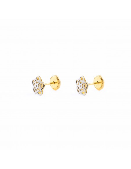 9ct Yellow and white flower Gold Children's Earrings