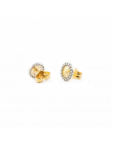 9ct 2 Colour Gold round Children's Earrings