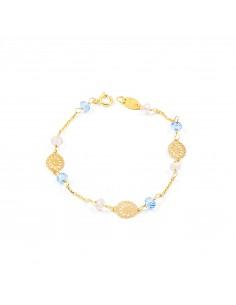 18ct Yellow Gold Baby blue stone Bracelet