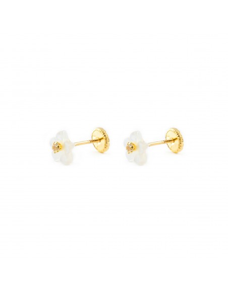 18ct Yellow Gold nacre flower Children's Earrings
