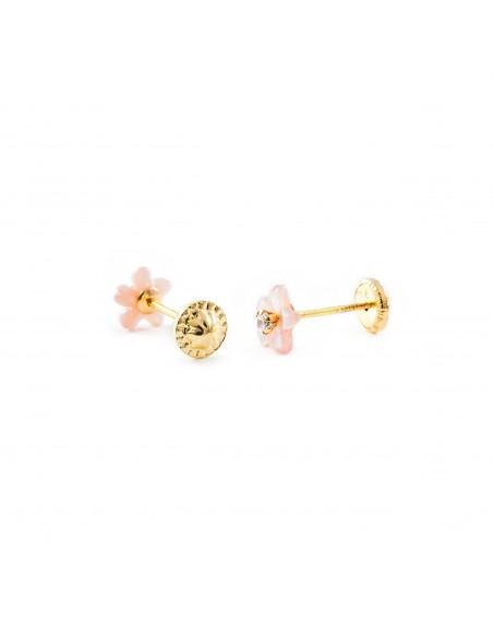 9ct Yellow Gold pink nacre flower Children's Earrings