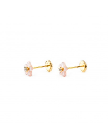 18ct Yellow Gold pink nacre flower Children's Earrings