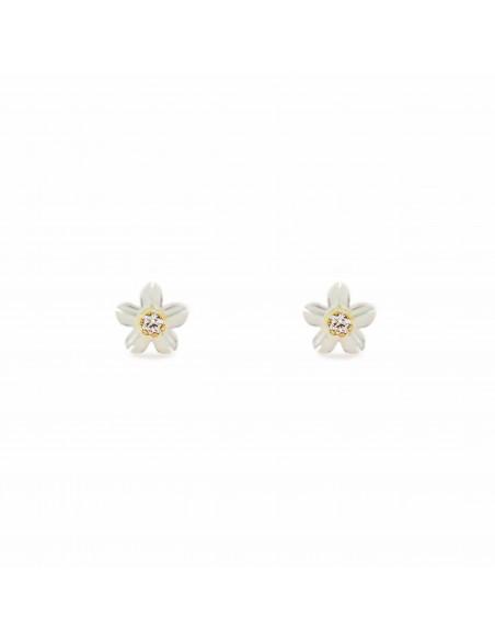 18ct Yellow Gold nacre flower Children's Earrings