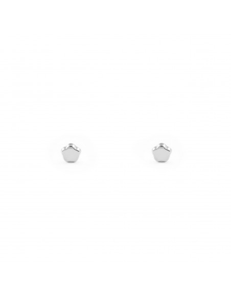 18ct White Gold flower 3 mm baby-newborn Earrings