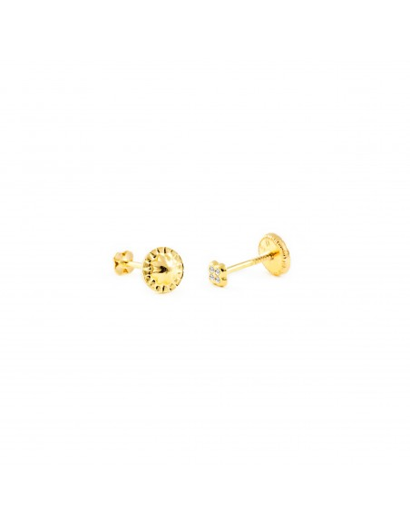 18ct Yellow Gold four Leaf Clover 3.5 mm baby-newborn Earrings