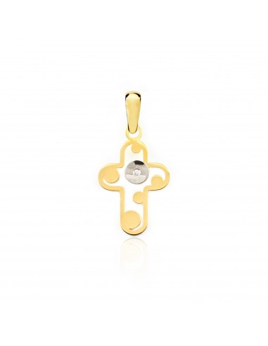 18ct gold cross with circles and diamond