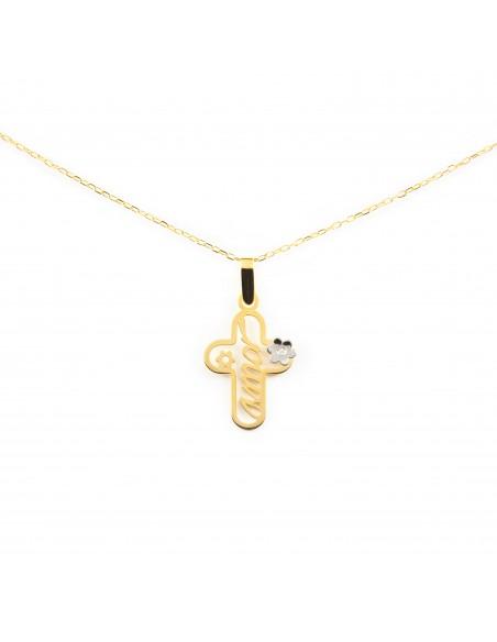 18ct gold cross with diamond