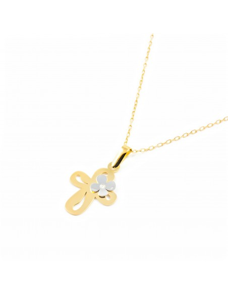 18ct gold cross with Daisy flower and diamond