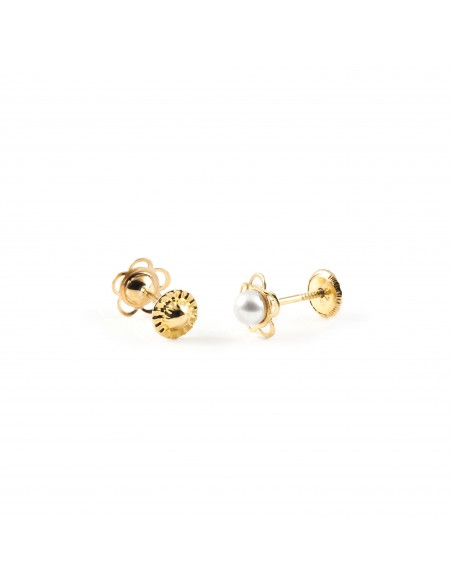 9ct Yellow Gold flower pearl Baby Earrings