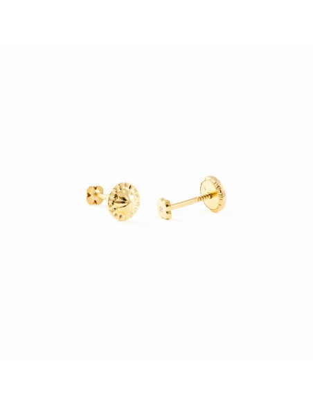 9ct Yellow Gold four Leaf Clover 3.5 mm baby-newborn Earrings