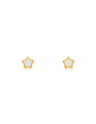 18ct Yellow Gold Star nacre Children's Earrings