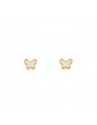 9eecb13787a5 Pendientes Oro Bebe o Niña mariposa con fondo nacar (9kts)