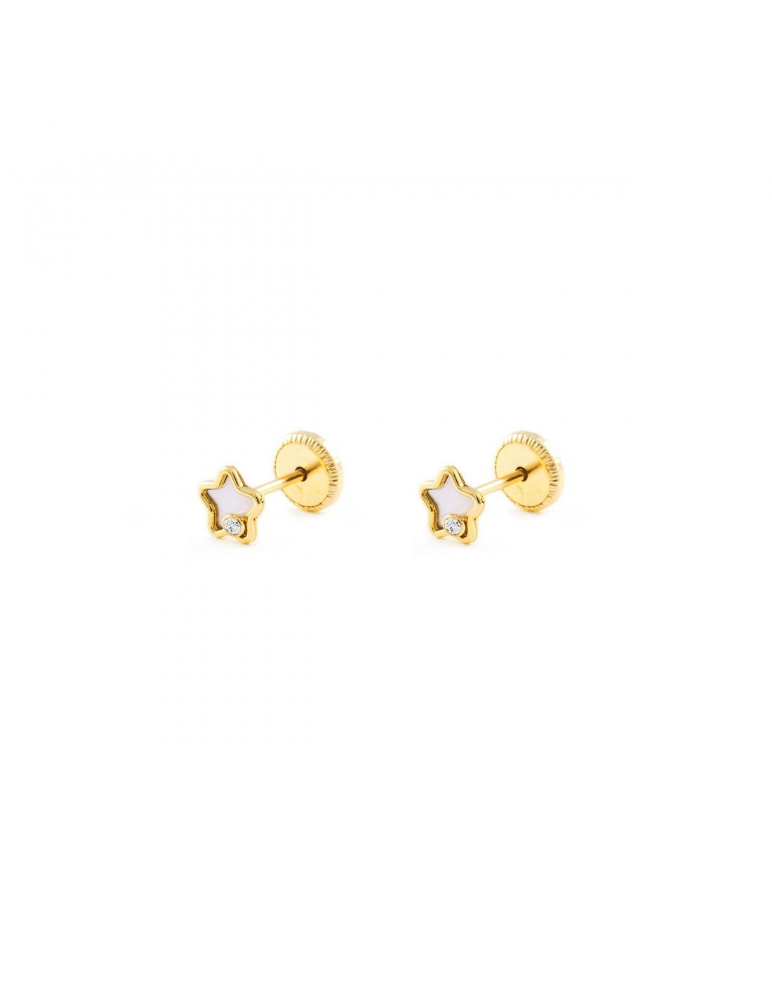9ct White Gold Star Children's Earrings qSiqkC