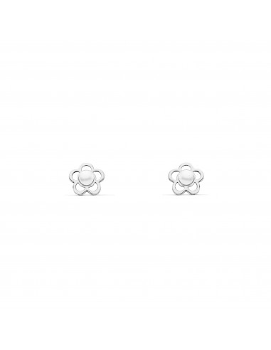 9ct White Gold Flower Pearl Baby Earrings