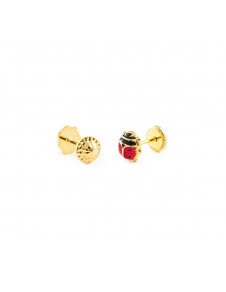 18ct Yellow Gold ladybird Children's Earrings