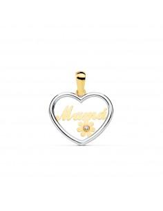 "9ct 2 Colour Gold heart flower ""mama"" Pendant"