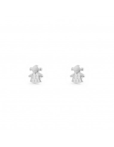 9ct White Gold Doll Baby Earrings