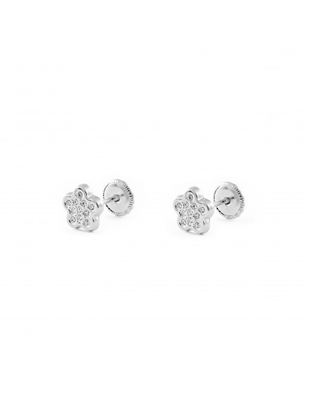 18ct White Gold flower Baby Earrings