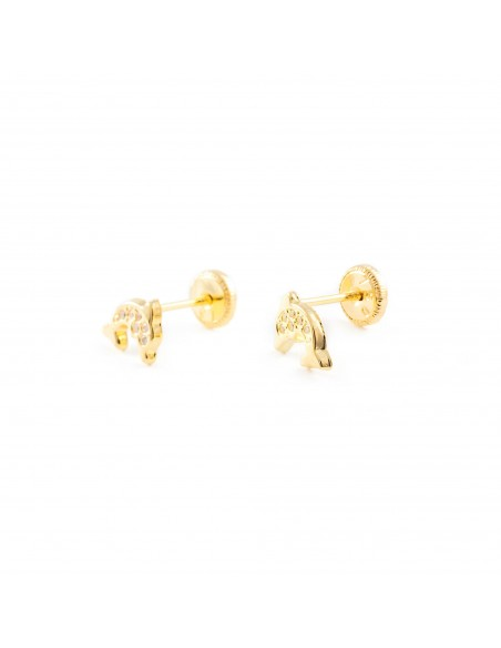 9ct Yellow Gold dolphin Children's Earrings