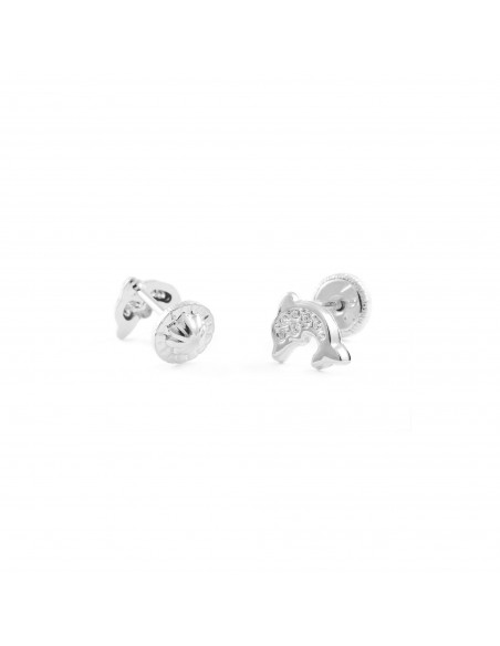 9ct White Gold dolphin Baby Earrings