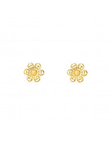 18ct Yellow Gold flower Children's Earrings