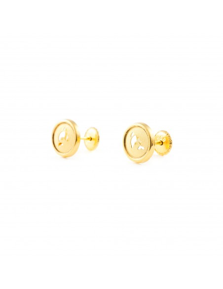 18ct Yellow Gold round dolphin Earrings