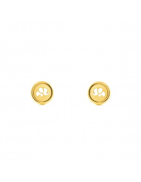 18ct Yellow Gold round elephant Earrings