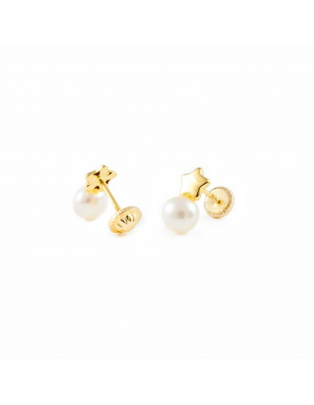Boucles d'Oreilles Enfant étoile lisse et perle Or Jaune 18 Carats