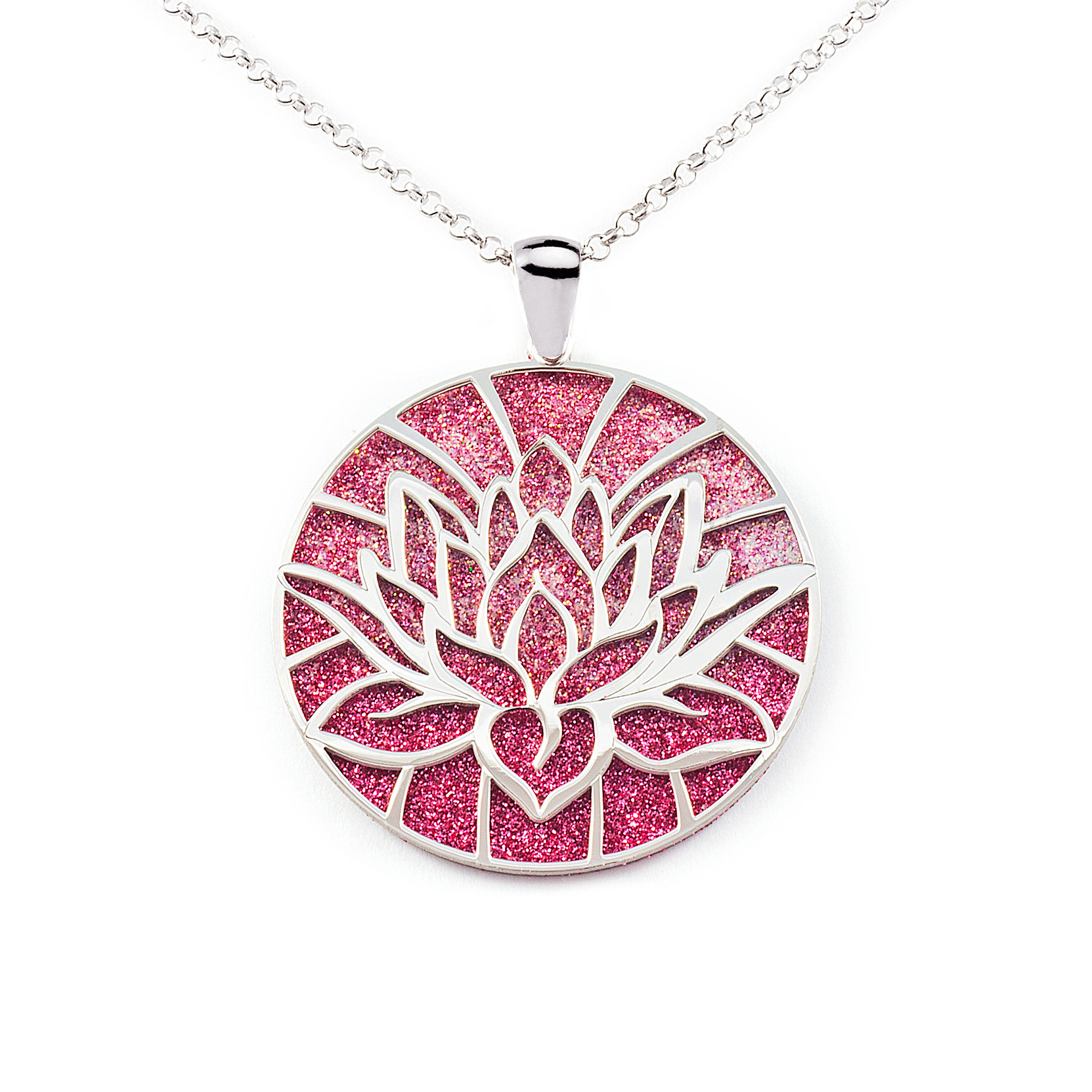 925 Sterling Silver Lotus Flower Red Diamond Background Pendant