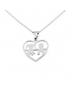 925 Sterling Silver heart boy and girl necklace