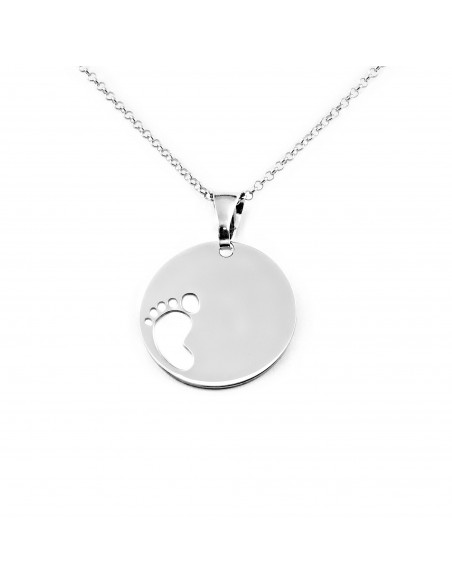 925 Sterling Silver baby foot pendant
