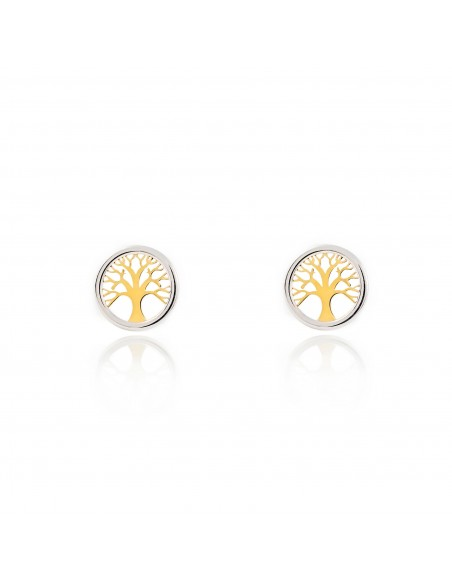 9ct 2 Colour Gold round Tree of Life Children's Earrings