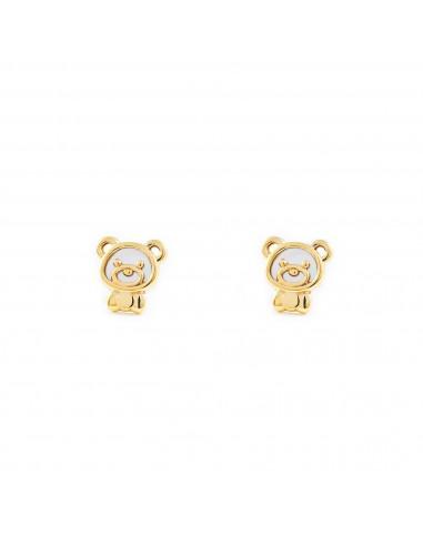 9ct Yellow Gold bear nacre Children's Earrings