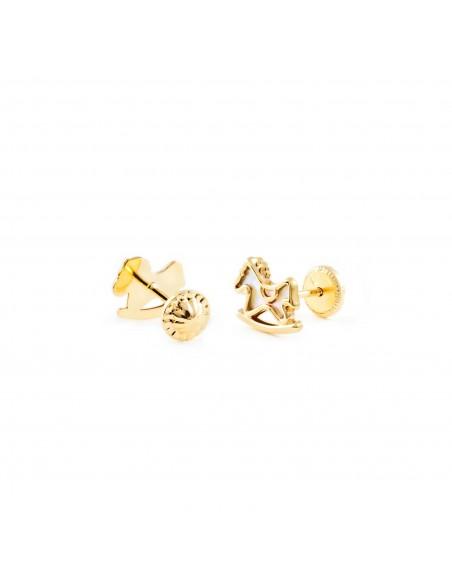 9ct Yellow Gold rocking horse nacre Children's Earrings