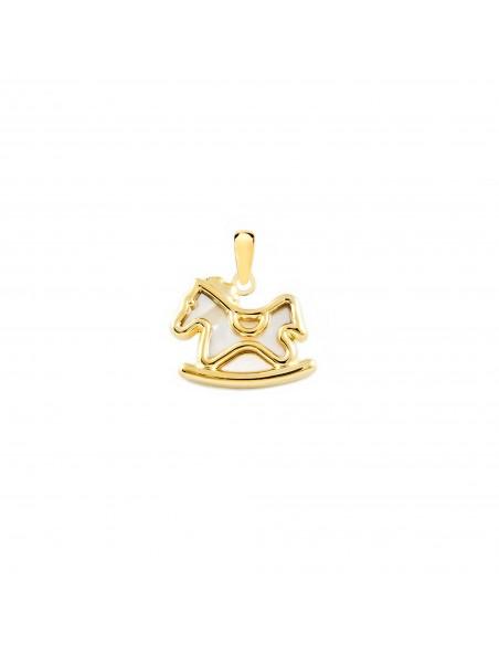 9ct Yellow Gold rocking horse nacre Children's Pendant