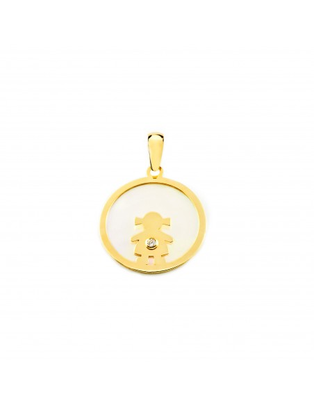 9ct Yellow Gold girl nacre Pendant